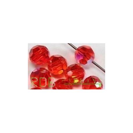 Perles a facettes en verre RDB rouge