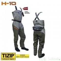Waders respirant H10 Séries avec chausson et fermeture a zip